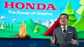 Takahiro Hachigo, President and CEO of Honda, speaks at the North American International Auto Show, Monday, Jan. 9, 2017, in Detroit. (AP Photo/Tony Ding)