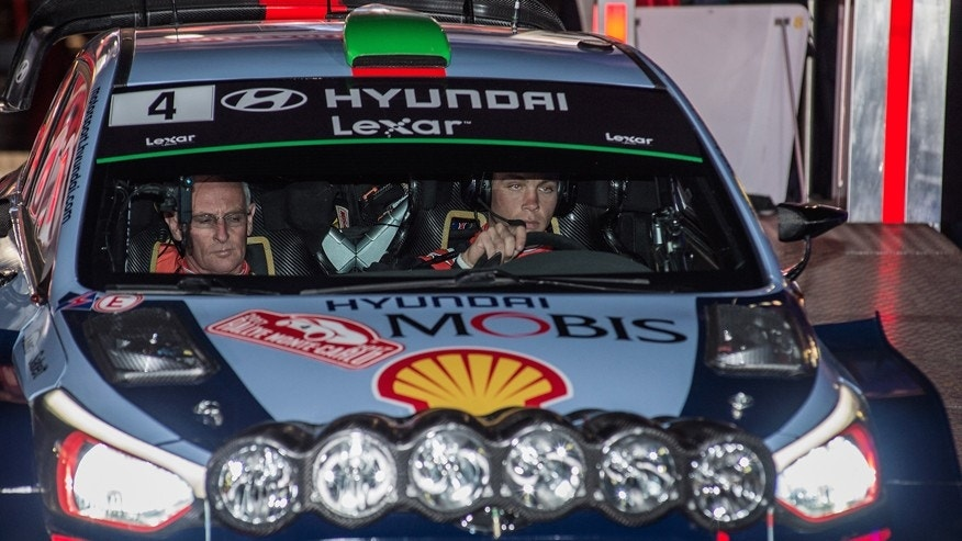 Hyundai Motorsports driver Hayden Paddon, right, and co-driver John Kennard from New Zealand start the 85th Rally of Monte Carlo, Thursday, Jan. 19, 2017, in Monaco.