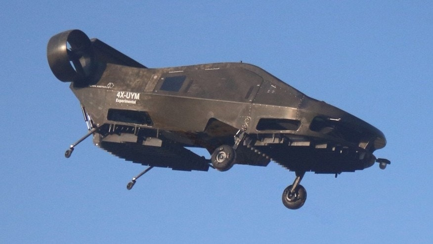 This image provided by Urban Aeronautics/Tactical Robotics shows an Israeli-made flying car. Urban Aeronautics conducted flight tests of its passenger-carrying drone call the Cormorant.