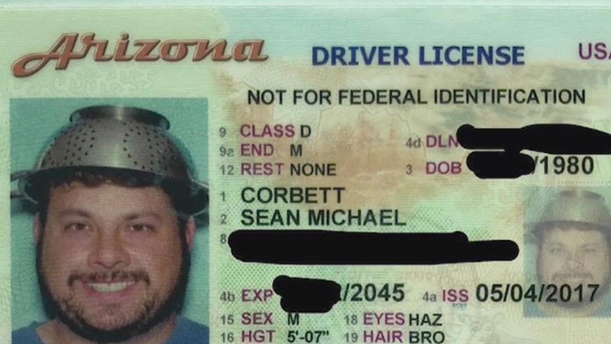 Should The Driving Age Be Raised To 18 >> Arizona man's driver's license features a photo of him wearing a colander | Fox News