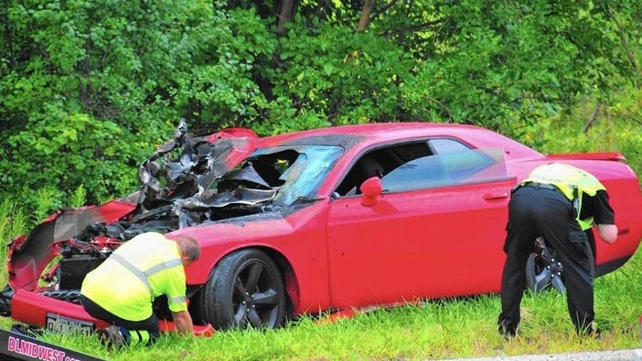 Dodge Challenger wrecked in front of car museum | Fox News