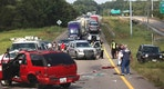 Interstate 20 West is blocked off from the Clay Street on ramp due to a three-car wreck Friday, Aug 11, 2017 in Vicksburg, Miss. Lieutenant Leonce Young with the Vicksburg Police Department said both lanes were reopened within two hours. (Courtland Wells/The Vicksburg Post via AP)