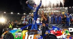 Kyle Busch celebrates in Victory Lane after winning the NASCAR Cup Series auto race, Saturday, Aug. 19, 2017, in Bristol, Tenn. (AP Photo/Wade Payne)