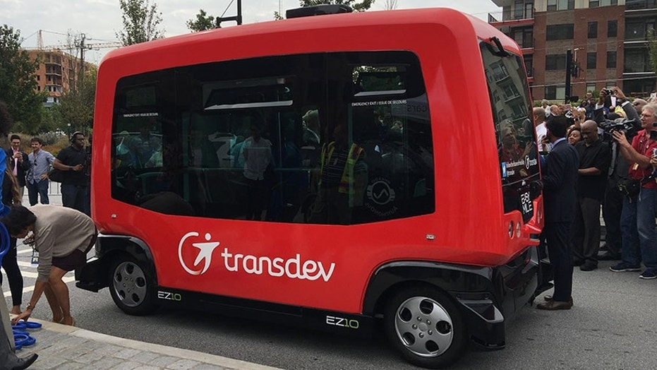 A Transdev EZ10 autonomous vehicle was deployed Thursday, Sept. 14, 2017 at a City of Atlanta Smart City Project launch to demonstrate the city's efforts to employ high-technology sensors and cameras to guide AV's to improve traffic safety. (AP Photo/Johnny Clark)