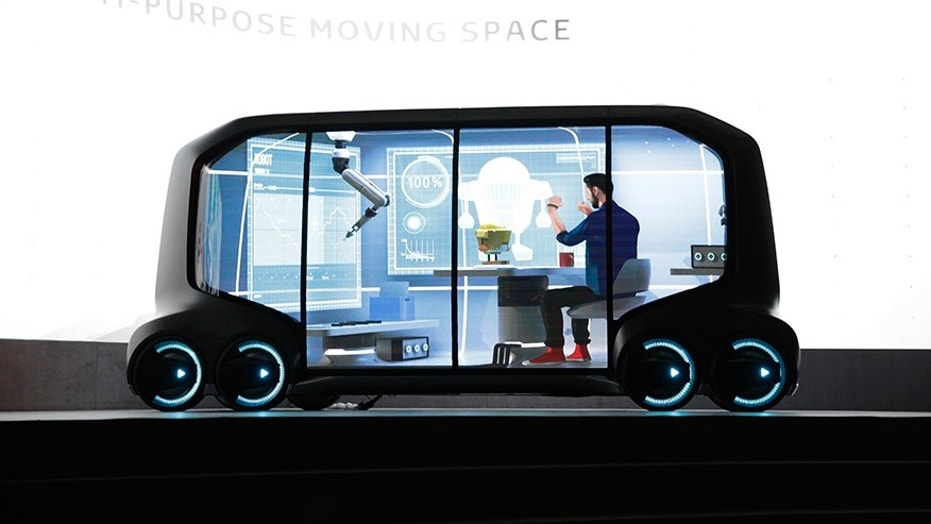 The self-driving ePallet can serve as an office on wheels, or a store that delivers its own goods.