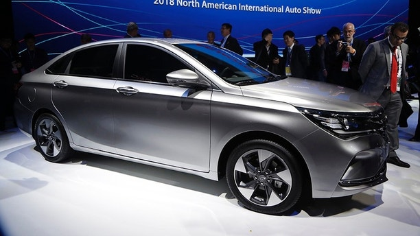 GAC unveils the 2019 GA4 during the North American International Auto Show, Monday, Jan. 15, 2018, in Detroit. (AP Photo/Carlos Osorio)