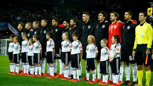 Soccer Football - International Friendly - Germany vs France - RheinEnergieStadion, Cologne, Germany - November 14, 2017   Germany players lined up during their national anthem    REUTERS/Thilo Schmuelgen - RC19524AA2F0
