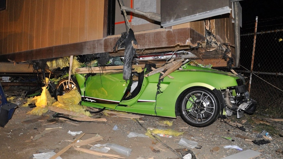 Cesar Castro Rodriguez crashed the luxurious Lamborghini Gallardo Superleggera underneath a Costa Mesa, Calif. trailer.