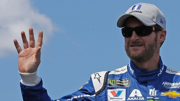 Dale Earnhardt Jr. prior to the NASCAR Cup Series 301 auto race at the New Hampshire Motor Speedway in Loudon, N.H., Sunday, July 16, 2017.(AP Photo/Charles Krupa)