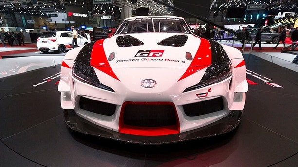 The New Toyota GR Supra Racing Concept is presented during the press day at the 88th Geneva International Motor Show in Geneva, Switzerland, Tuesday, March 6, 2018. (Cyril Zingaro/Keystone via AP)