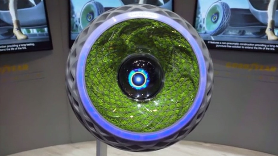 Goodyear's Oxygene tires are filled with moss.