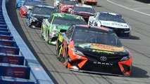 Pole-sitter Martin Truex Jr. (78) leads Kyle Busch (18) and Kyle Larson (42) toward Turn 1 at the start of the NASCAR Cup Series auto race Sunday, March 18, 2018, in Fontana, Calif . (AP Photo/Will Lester)