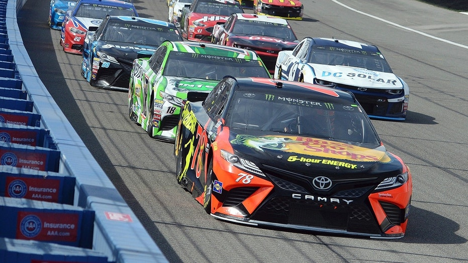 Truex leads the field at Fontana on the way to a flag to flag win.