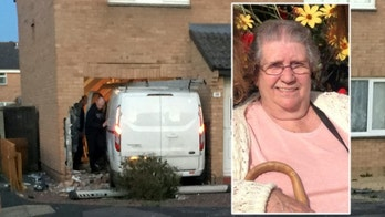 Collect photo of the van which crashed into a home in Clevedon, North Somerset 19 April 2018. See SWNS story SWCRASH; A woman has died and residents have been evacuated after a van crashed into a house in Clevedon, Somerset. The woman who was killed was in the house and the occupants of the vehicle, a man and a woman, have been arrested and are currently in police custody. The incident took place shortly before 8.30pm this evening, Wednesday, April 18, on Yeolands Drive, Clevedon