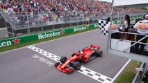 Ferrari's Sebastian Vettel of Germany crosses the finish line to win the Canadian Grand Prix Sunday, June 10, 2018 in Montreal. (Paul Chiasson/The Canadian Press via AP)