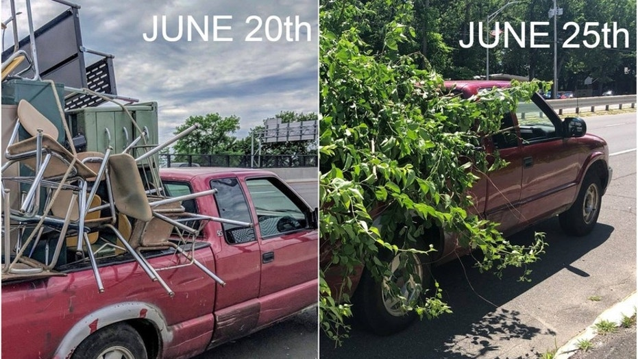 Massachusetts police say a driver was cited for an unsecured load this week -- after being cited for the same offense five days prior.