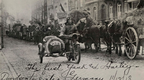 War EffortHarley-Davidson played a big part in World War I — by 1918 nearly half the motorcycles the company produced were sold to the military. The U.S. Army used an estimated 20,000 motorcycles during WWI, most of which were Harley-Davidsons. Corporal Roy Holtz of Chippewa Falls, Wisconsin, was the first American to enter Germany after the signing of the armistice — riding a Harley-Davison.
