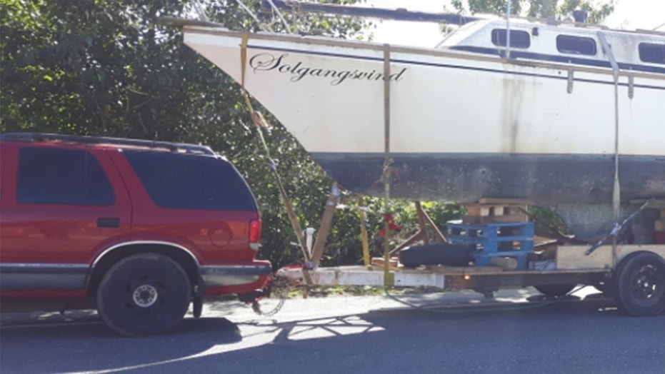 "A police spokesperson said via Twitter the contraption was an example of ""how not to tow your boat this summer."""