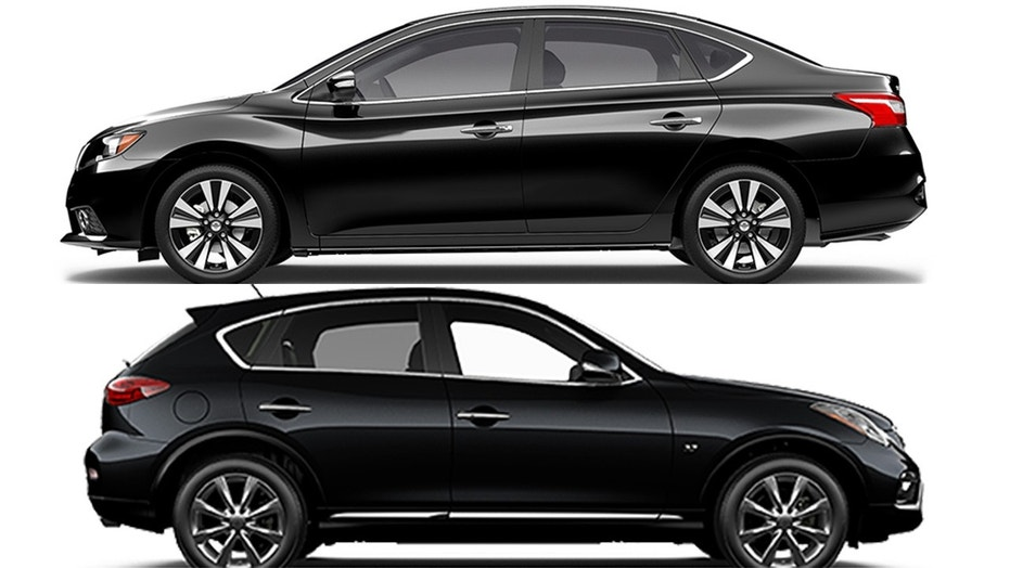 The woman swapped a Nissan Sentra sedan (top) for an Infiniti QX50 SUV (bottom)