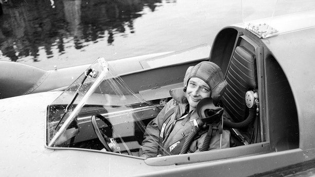 Donald Campbell breaks the Water Speed Record in Bluebird K7 on Ullswater, 23rd July 1955. Campbell in the cockpit of Bluebird. He set a record of 202.15 mph (324 km/h), beating the previous record by some 24 mph (39 km/h) held by Stanley Sayres. (Photo by Daily Mirror/Mirrorpix/Mirrorpix via Getty Images)