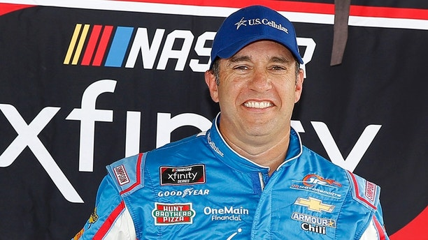 Elliott Sadler, JR Motorsports, Chevrolet Camaro Chevrolet US Cellular pole award after qualifying for the NASCAR Xfinity Series U.S. Cellular 250 race at Iowa Speedway, Saturday, July 28, 2018, in Newton, Iowa. (AP Photo/NKP, Russell LaBounty) MANDATORY CREDIT