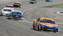 Brad Keselowski (2) drives during a NASCAR Cup Series auto race Sunday, Sept. 16, 2018, in Las Vegas. (AP Photo/Isaac Brekken)