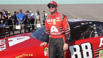 HOMESTEAD, FL - NOVEMBER 19:  Dale Earnhardt Jr., driver of the #88 AXALTA Chevrolet, takes part in pre-race ceremonies for the Monster Energy NASCAR Cup Series Championship Ford EcoBoost 400 at Homestead-Miami Speedway on November 19, 2017 in Homestead, Florida.  (Photo by Chris Graythen/Getty Images)