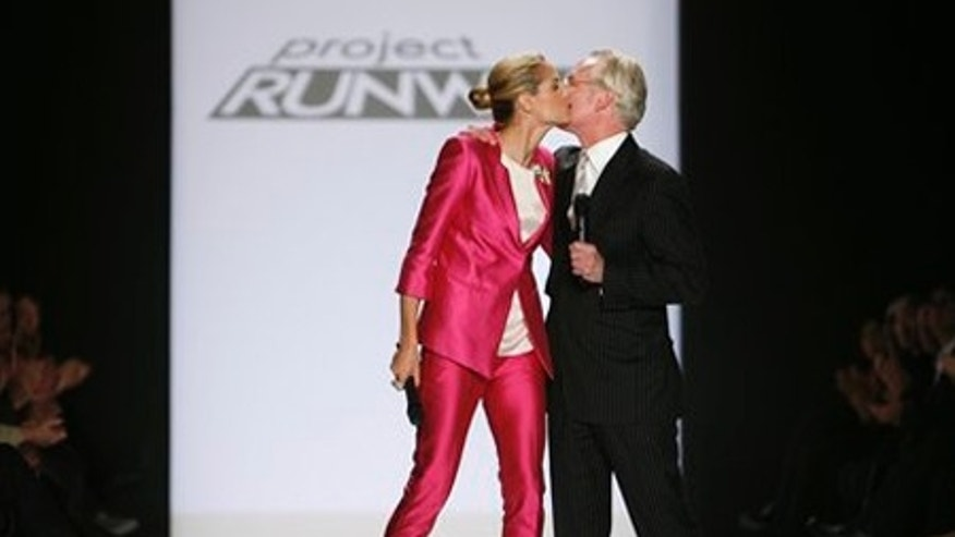 Heidi Klum and Tim Gunn kiss after the Project Runway Season 6 Finale show during Fashion Week Friday, Feb. 20, 2009 in New York.  (AP Photo/Jason DeCrow)