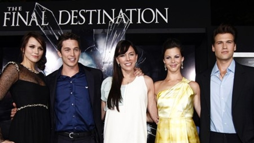 "From left, cast members Shantel VanSanten, Bobby Campo, Krista Allen, Haley Webb, and Nick Zano pose together at the premiere of ""The Final Destination"" in Los Angeles on Thursday, Aug. 27, 2009.  (AP Photo/Matt Sayles)"