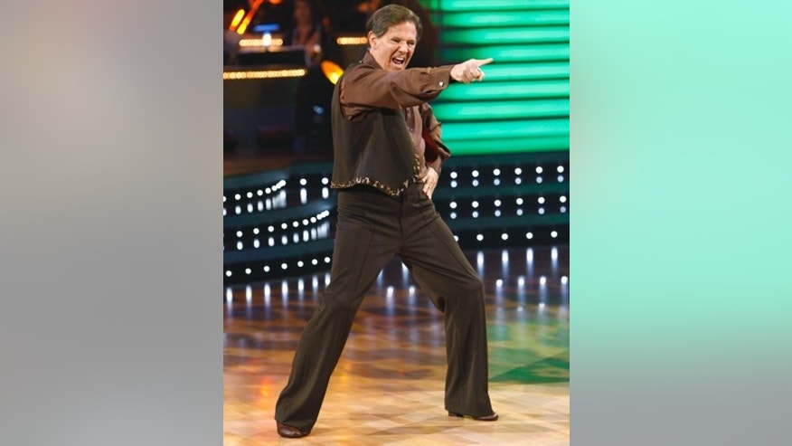 "In this Monday, Sept. 21, 2009 file photo, former House Republican Whip Tom DeLay, 62, dances on the ABC Television's  ""Dancing with the Stars, "" in Los Angeles. Republican Tom DeLay danced the cha-cha and the tango on TV, but he's tiptoeing through a legal web as his criminal case crawls through the Texas courts. The former U.S. House majority leader who's competing on ABC's hit show ""Dancing With the Stars"" was indicted four years ago on charges of money laundering and conspiracy allegedly connected to 2002 state legislative elections. His case now hinges on how an appeals court rules on legal questions raised by DeLay's two indicted associates.  (AP Photo/ABC, Adam Larkey, File) ** NO SALES; MAGS OUT; NO ARCHIVE **"