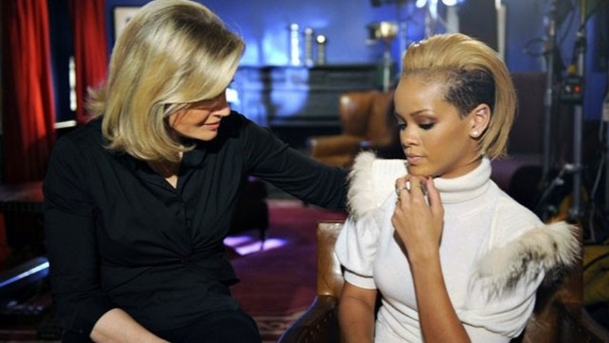 In this image released by ABC, Rihanna speaks with Diane Sawyer about her abuse ordeal with Chris Brown.