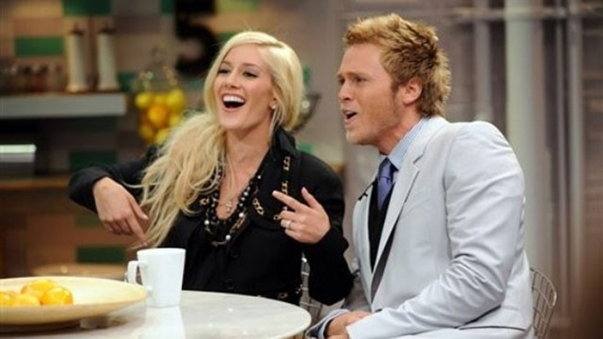"June 15: In this image released by PictureGroup, Heidi Montag, left, and Spencer Pratt appear on set of MTV's ""It's On with Alexa Chung"" at the MTV Times Square Studios."