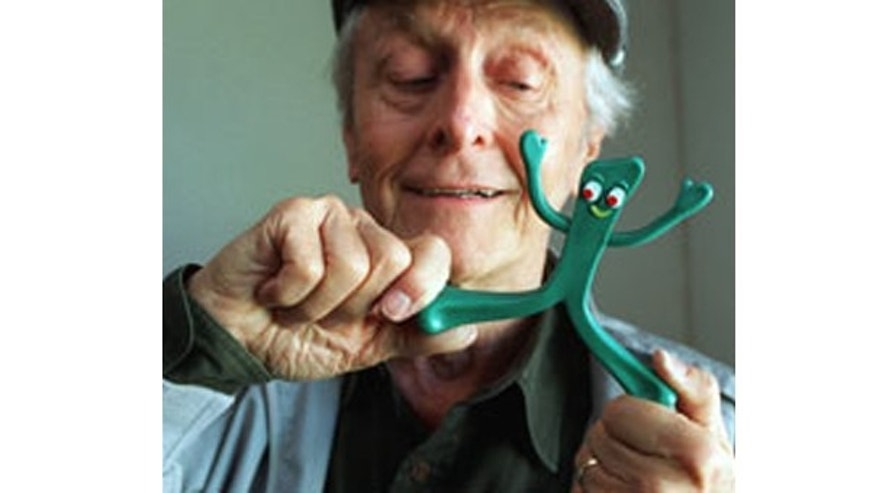 Art Clokey poses with a Gumby doll in 1995. (AP photo)