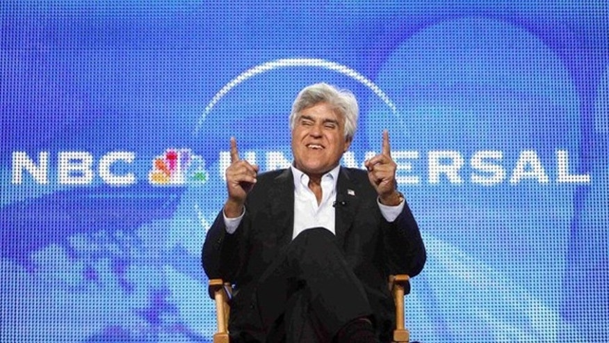 Aug. 5: Jay Leno gestures during a panel. (Reuters)
