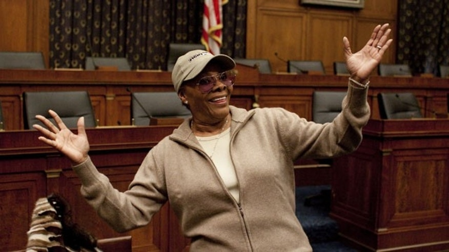 March 2: Singer Dionne Warwick gestures on Capitol Hill in Washington, during the musicFIRST 2010 news conference, to discuss the importance of fair pay for musicians.