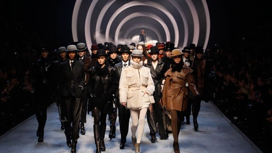 Models work the runway in the Jean Paul Gaultier for Hermes show during Paris Fashion Week last year.