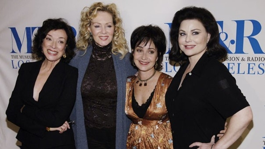 Oct. 26, 2006: Dixie Carter, left, Jean Smart, center left, Annie Potts, center right, and Delta Burke, cast members in the television show 'Designing Women,' are seen together. (AP)