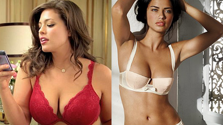 The network wouldn't air an ad starring a plus-sized model (left) but has no problem with Victoria's Secret ads starring thinner models like the one to the right.