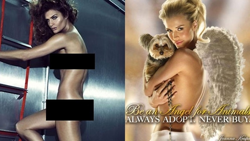 Helena Christensen in a new Reebok ad (left) and Joanna Krupa for PETA