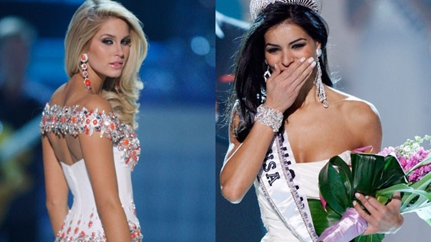 Miss USA first runner up Morgan Woolard (l) and winner Rima Fakih.