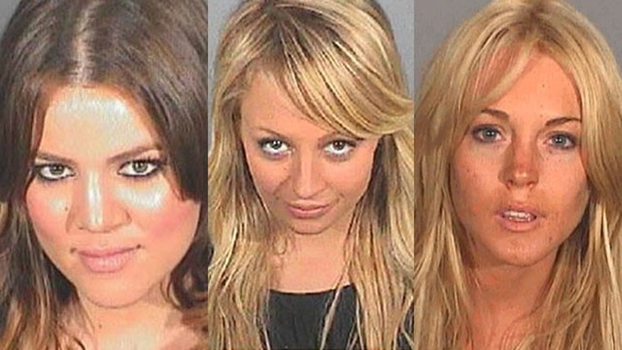 Khloe Kardashian, Nicole Richie and Lindsay Lohan (l to r) in their DUI mug shots.
