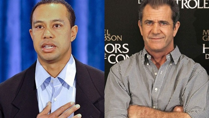 Tiger Woods (left) and Mel Gibson handled public scandals in similar fashions.