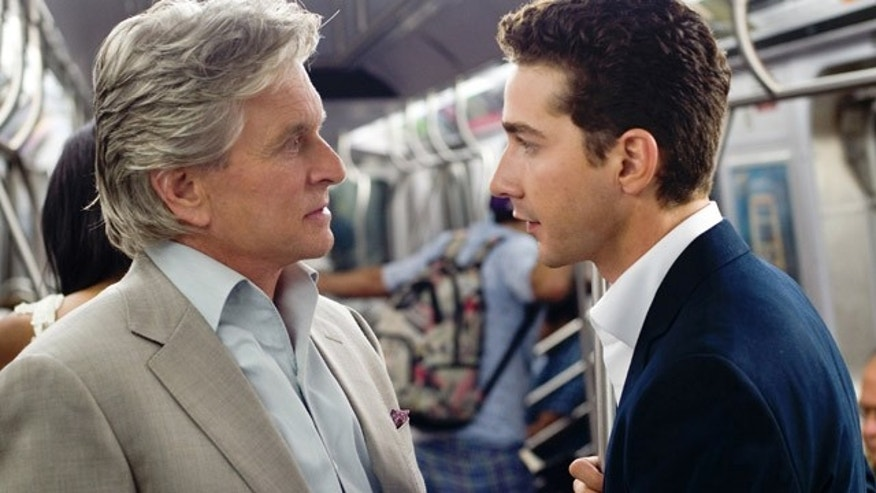 Michael Douglas and Shia LaBeouf have a heart-to-heart in a scene from 'Wall Street: Money Never Sleeps.'