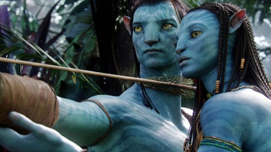 "Giant blue avatars aid miners on a distant planet in the science-fiction film ""Avatar."""