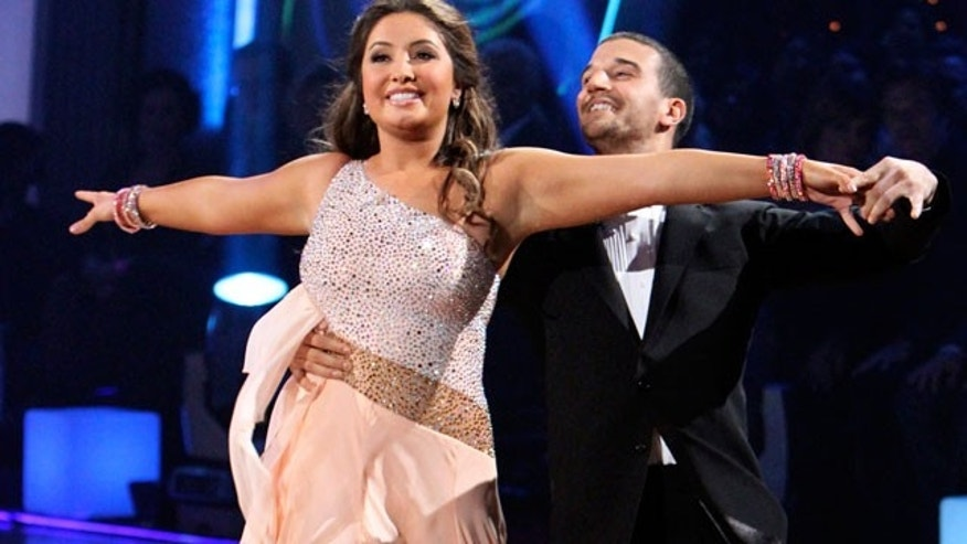 "Nov. 1: In this publicity image released by ABC, Bristol Palin, left, and her partner Mark Ballas perform on the celebrity dance competition series, ""Dancing with the Stars."""
