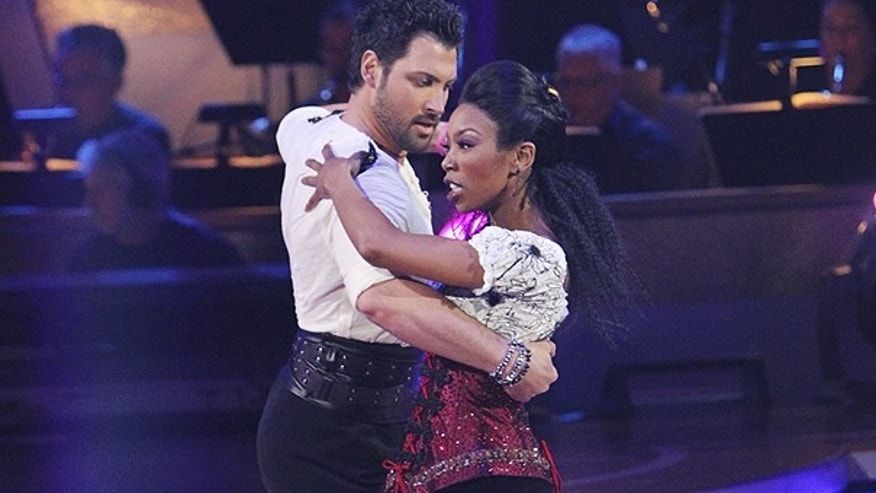Nov. 15: In this publicity image released by ABC, singer Brandy, right, and her partner Maksim Chmerkovskiy perform during the celebrity dance competition series, 'Dancing with the Stars,' in Los Angeles.