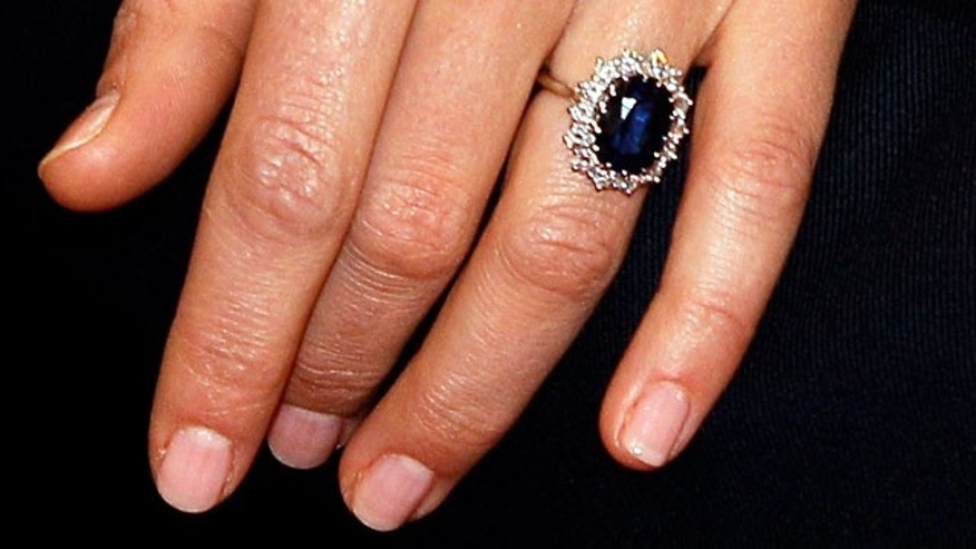 Nov. 16: Kate Middleton's engagement ring, which first belonged to her fiance Prince William's mother Princess Diana, is seen during a press conference.
