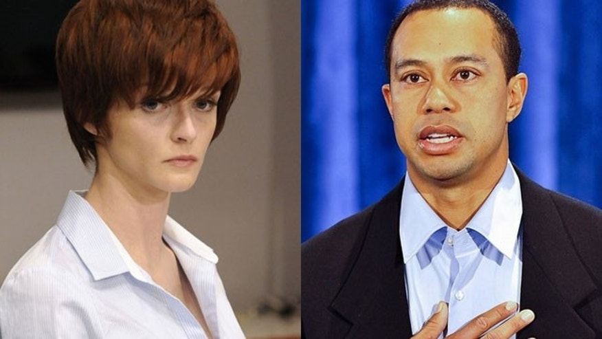 Feb 19: Joslyn James (left) is seen at a press conference after Tiger Woods' public apology for several affairs.