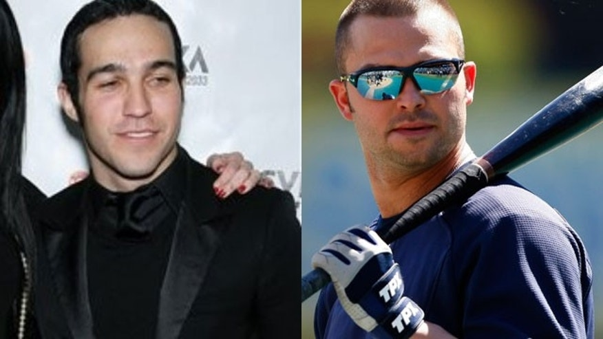 Pete Wentz and Nick Swisher (AP/Reuters)
