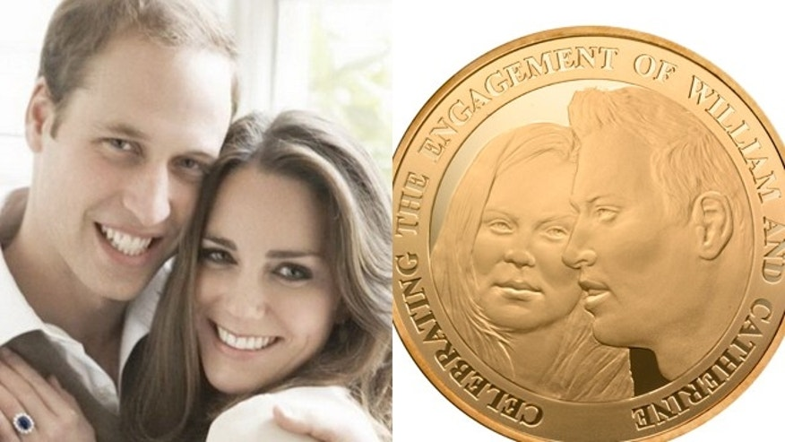 Prince William and kate middleton, and a new coin that bears little resemblance. (AP)